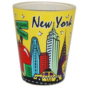 NYC Skyline Yellow Pastel Shotglass