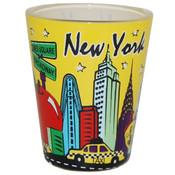 NYC Skyline Yellow Pastel Shotglass
