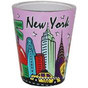 NYC Skyline Lavendar Pastel Shotglass
