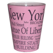 NYC Black Letters Pink Pastel Shotglass
