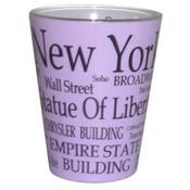 NYC Black Letters Lavendar Pastel Shotglass