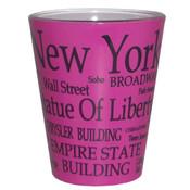 NYC Black Letters Fuchsia Pastel Shotglass