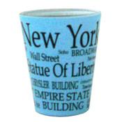 NYC Black Letters Lt. Blue Pastel Shotglass