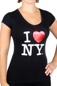 I Love NY Foil V-neck Black Fitted Tee