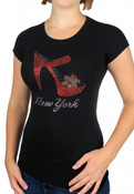 "NY ""Stiletto"" Rhinestones Black Fitted Tee"