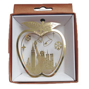 NYC Liberty Bells In Apple Gold Foil Ornament