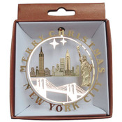 NYC Icons In Circle Gold Foil Ornament