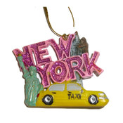 New York Pink Glitter Sightseeing Ornament