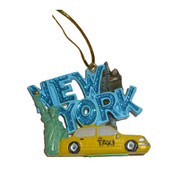 New York Blue Glitter Sightseeing Ornament