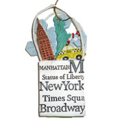 NYC Icons Shopping Bag Ornament - White