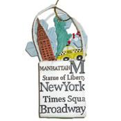 NYC Icons Shopping Bag Ornament - White