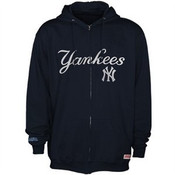 Yankees Adult Full-Zip Navy Hooded Sweatshirt