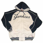 Yankees Navy Adult Full-Zip Navy/White Hooded Sweatshirt