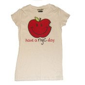 Have a NYC Day Big Apple White Ladies Fitted Tee