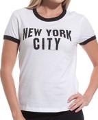 "New York City ""John Lenon"" White Ladies Fitted Tee"