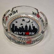 "NYC ""Night Skyline"" Glass Ashtray"