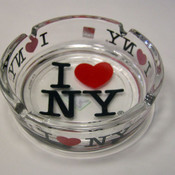 I Love NY Clear Glass Ashtray