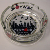 "NYC ""Night Skyline"" Big Glass Ashtray"