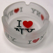 I Love NY Frosted Glass Ashtray