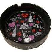 "NYC ""Hearts & Monuments"" Black Ceramic Ashtray"