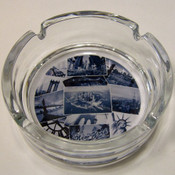 NYC Postcard Collage Glass Ashtray