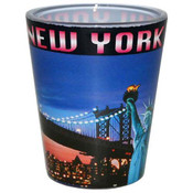NY Postcard Bridge Skyline Shotglass