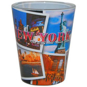 NYC Postcard Collage Clear Shotglass