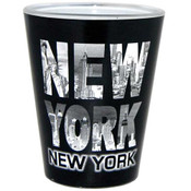 Black & White Letters Skyline Shotglass