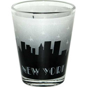 Grey Skyline Handpainted Design Clear Shotglass