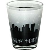 Grey Skyline Handpainted Design Clear Shotglass