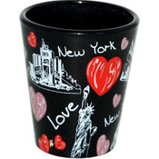 NY Lips Design Black Shotglass