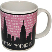 NY Grey Skyline Pink Shaded 11oz Mug