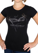 Black Rhinestone Mask Ladies Fitted Tee