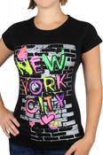 NYC Sleek Graffiti Black Ladies Fitted Tee