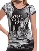 Rhinestoned New York & Liberty Fullbody Black Ladies Fitted Tee