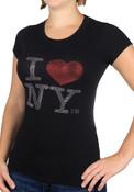 Black I Love NY Rhinestones Ladies Fitted Tee