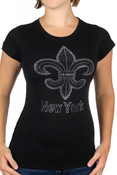 NY Saint B/W Rhinestone Ladies Fitted Tee