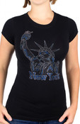 Blue Rhinestone Lady Liberty Ladies Fitted Tee