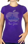 Purple NY Big Apple Rhinestone Ladies Fitted Tee