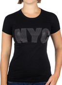 Big NYC Rhinestone Ladies Fitted Tee