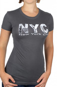 Gray NYC Pictured Letters Ladies Fitted Tee