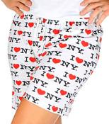 white I Love NY Pajama Shorts - front
