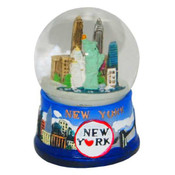NY Blue Skyline Mini Snowglobe Magnet