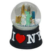 I Love NY Black Mini Snowglobe Magnet