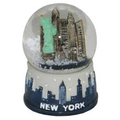 NY Grey Skyline Mini Snowglobe Magnet