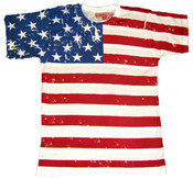 American Flag T-Shirt Distressed Full Body Printing - Front