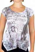 NYC Fashion White Flowy Ladies Shirt- front
