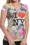 Fashion Tie Dye I Love NY Fitted Tee