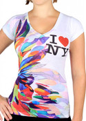 I Love NY Tie Dye Flower Fitted Tee