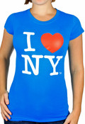 Turquoise Classic I Love NY Ladies Fitted Tee
